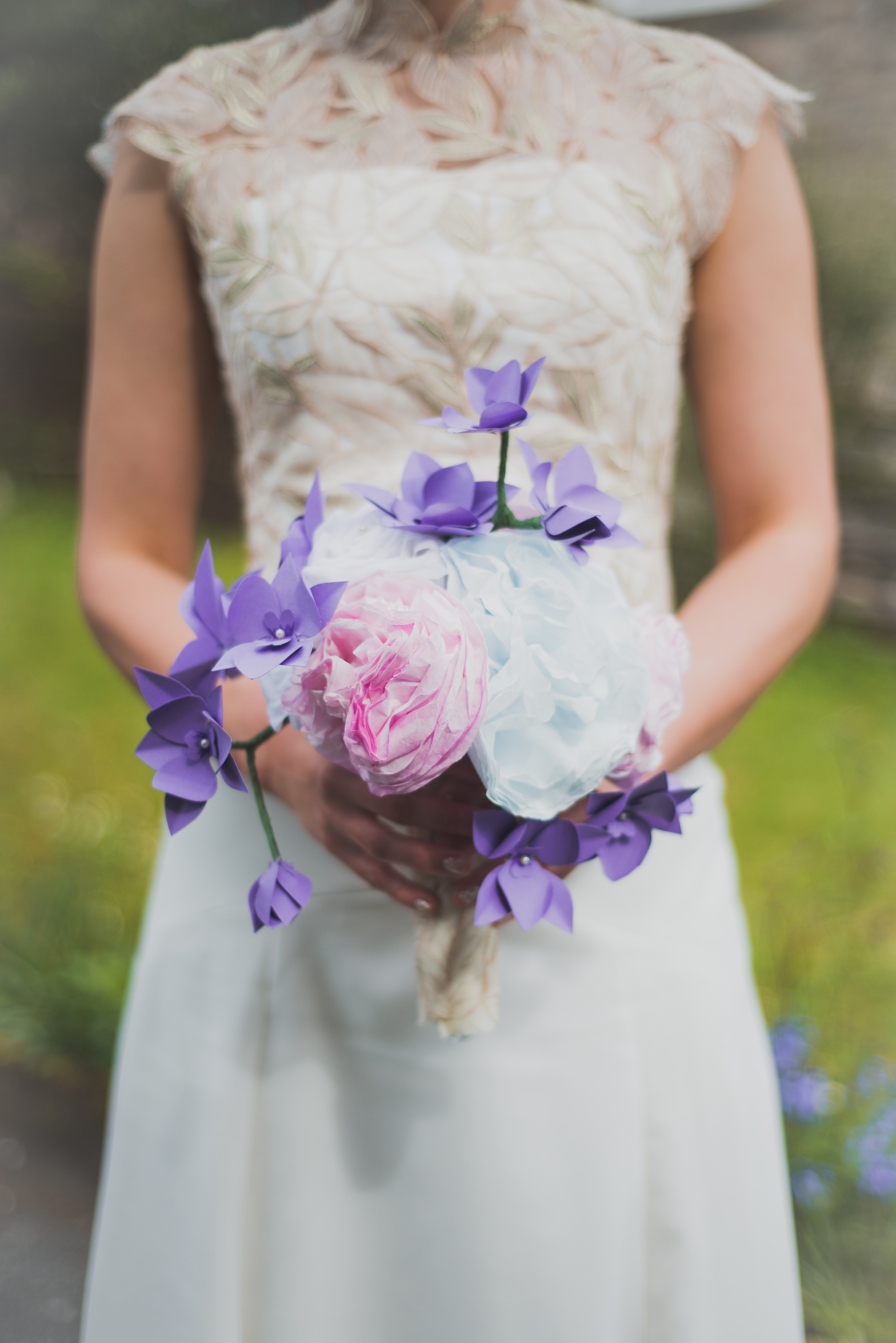 Trailing orchid and peony bouquet