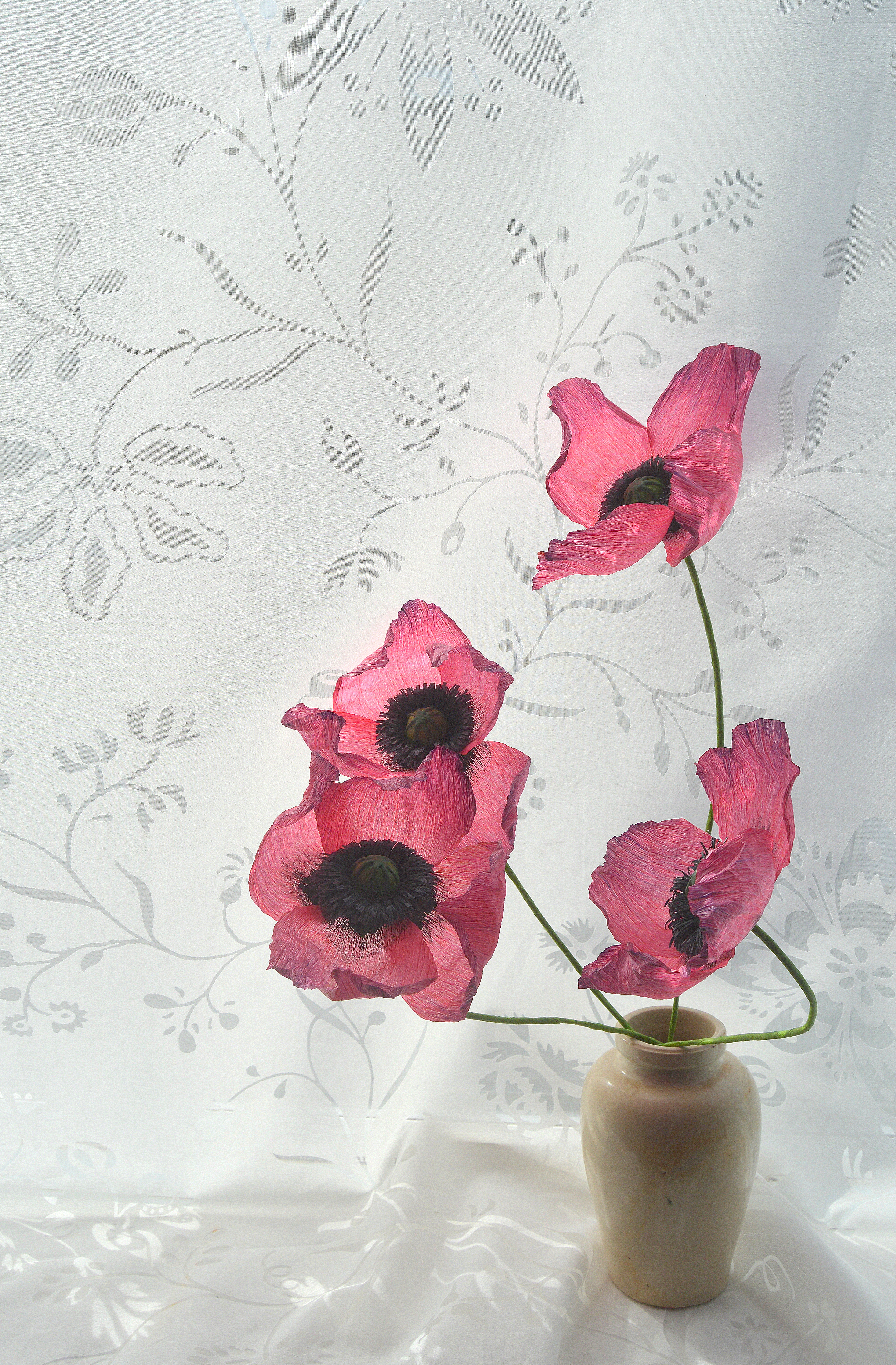 Hand painted opium poppies