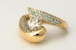 Bague Evolut. - Diamants bleu & gris