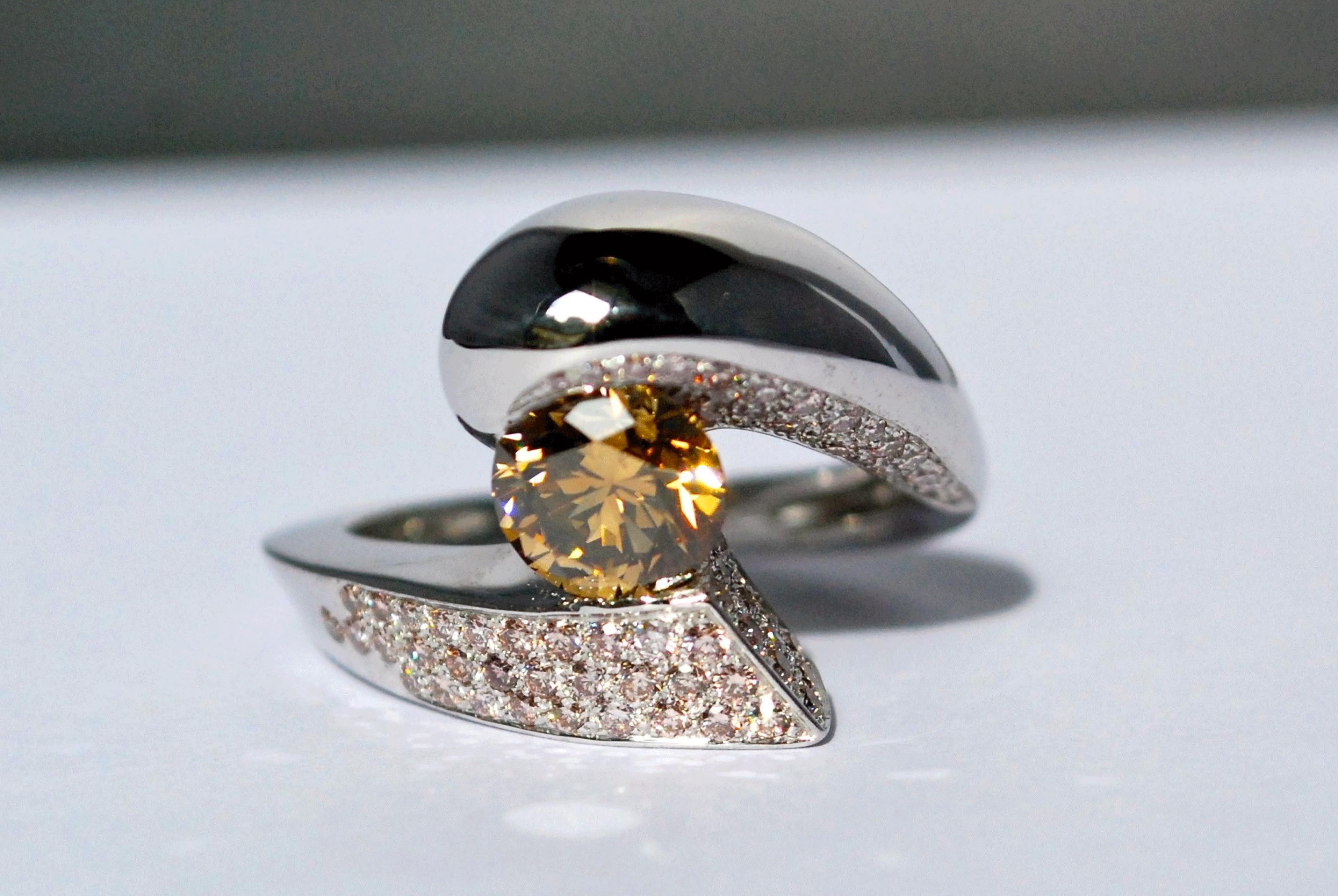 Bague Evolut. - Diamants champagne