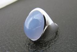 Bague Zen – Calcédoine bleue