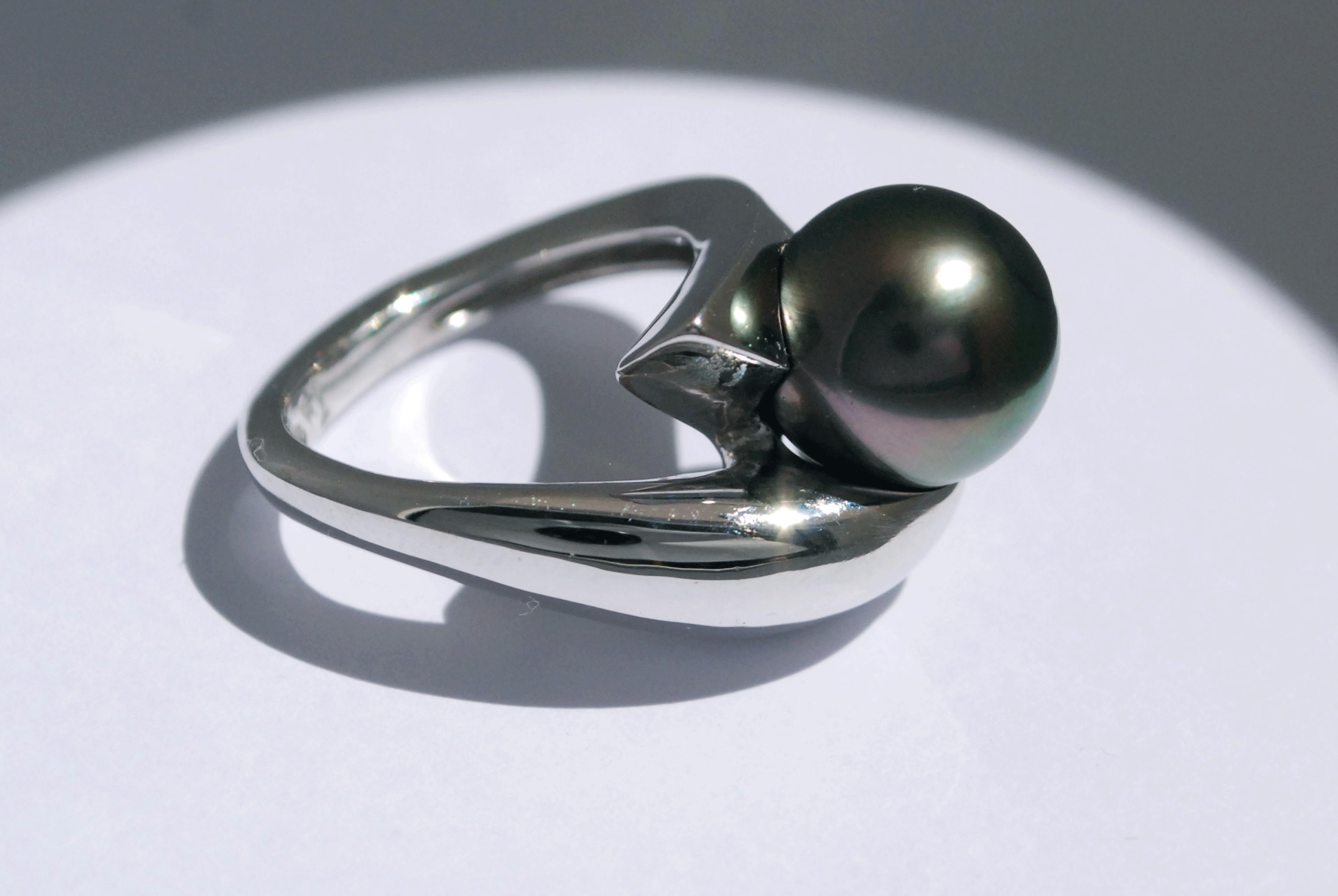 Bague Evolution - Perle noire