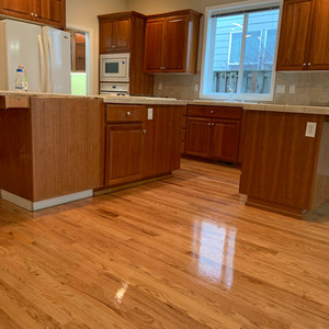 Red oak floor with oil sealer and 2 coats water finish