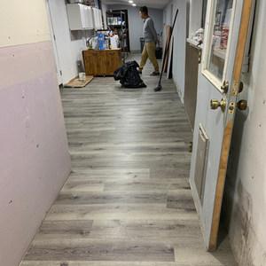 Vinyl plank floor installation completed
