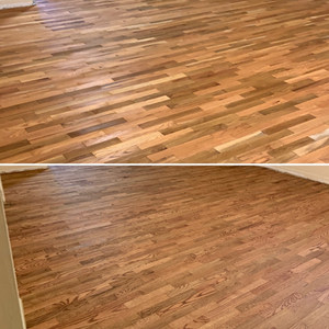 red oak and white oak mix with nutmeg floor stain application