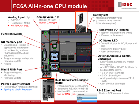 Product launch: MICROSmart FC6A Series All-in-One Type CPU Modules and Expansion Modules: