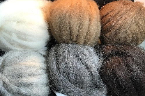Shetland Roving - Natural Colors - Per Ounce