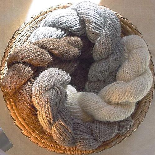 Shetland Yarn - White, Black, Light Gray, Dark Gray, Light Brown