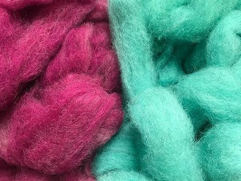 Dyed Shetland Roving - Per Ounce