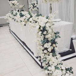 Beautiful flower table for elegant white