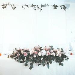 Main table flower arrangement with natur