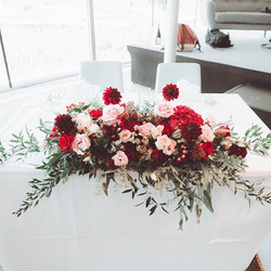 Main table with fresh flowers decoration