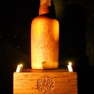 Turned & Carved Whiskey Bottle