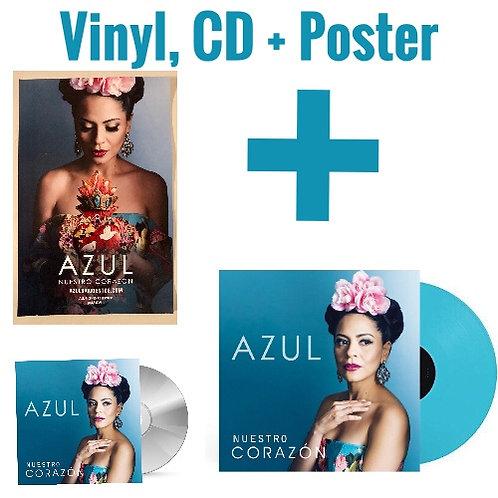 Vinyl + CD + Poster Azul Nuestro Corazón Bundle