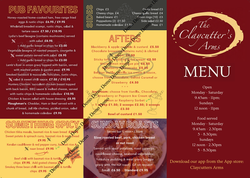 The Claycutters Arms Menu part 1
