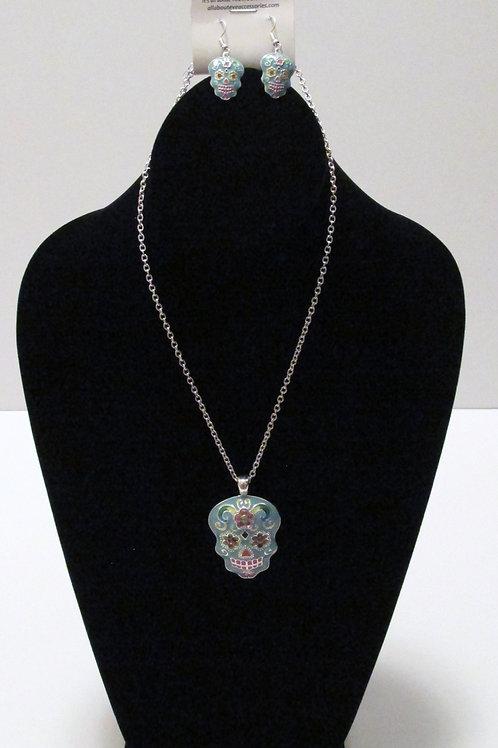 Queen Dia de Muertos (Turq) Necklace Set