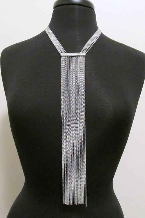 Queen Silver Tie Necklace Set