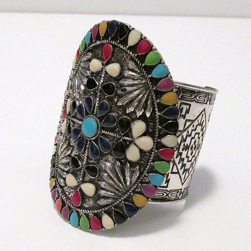 Queen of Many Colors Cuff Bracelet (Center 3 3/8 inches wide)