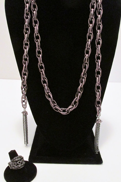 SCARFed for Attention Necklace Set and Stretch Ring - Gun Metal Paparazzi
