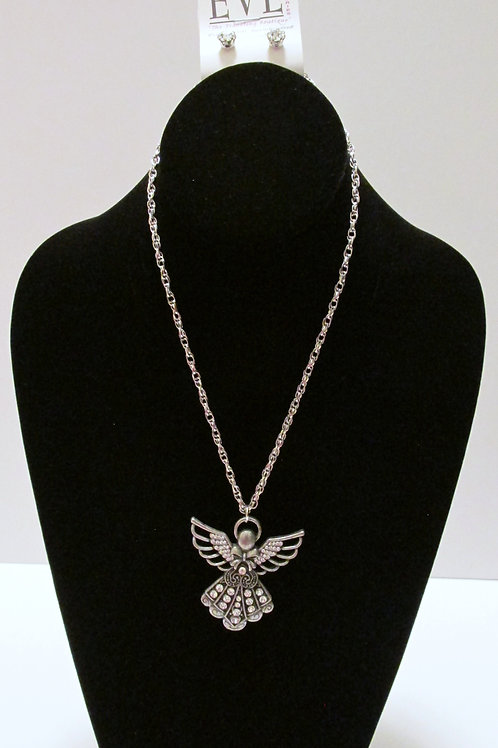 Queen Bling Angel Necklace Set - Fashion Silver