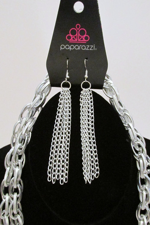 SCARFed for Attention Silver Necklace Set - Paparazzi