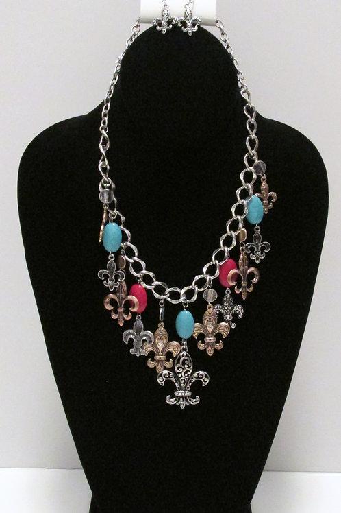 Queen Multi Color Fleur de lis Charm Necklace Set