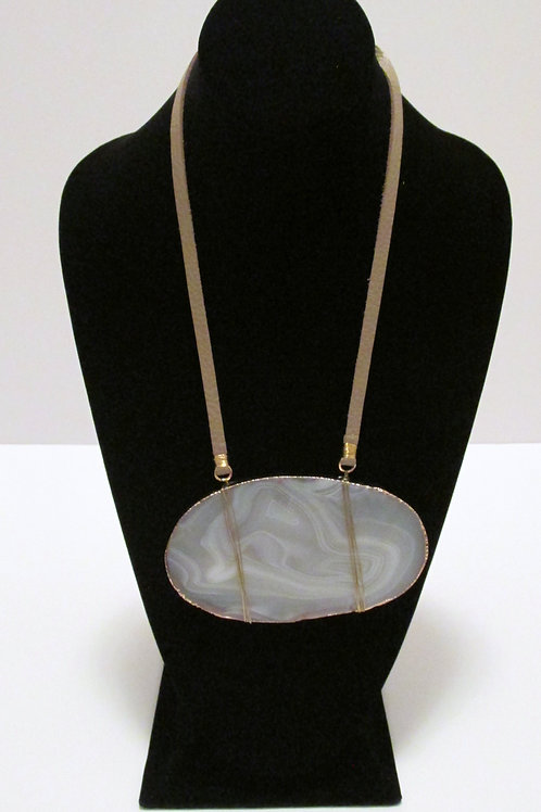 Queen Earth Marbled Gold Edged Necklace Only