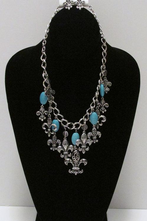 Queen Fleur de lis Charm Necklace Set -Turquoise