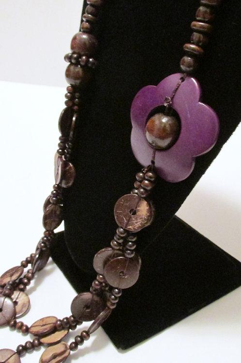 Honolulu Hula Purple Flower Accent Necklace Set
