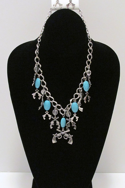 Queen Bang Bang Turquoise Charm Necklace Set