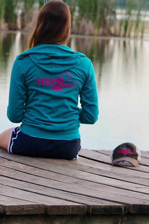 Lightweight Fish In Pink Teal Hoodie