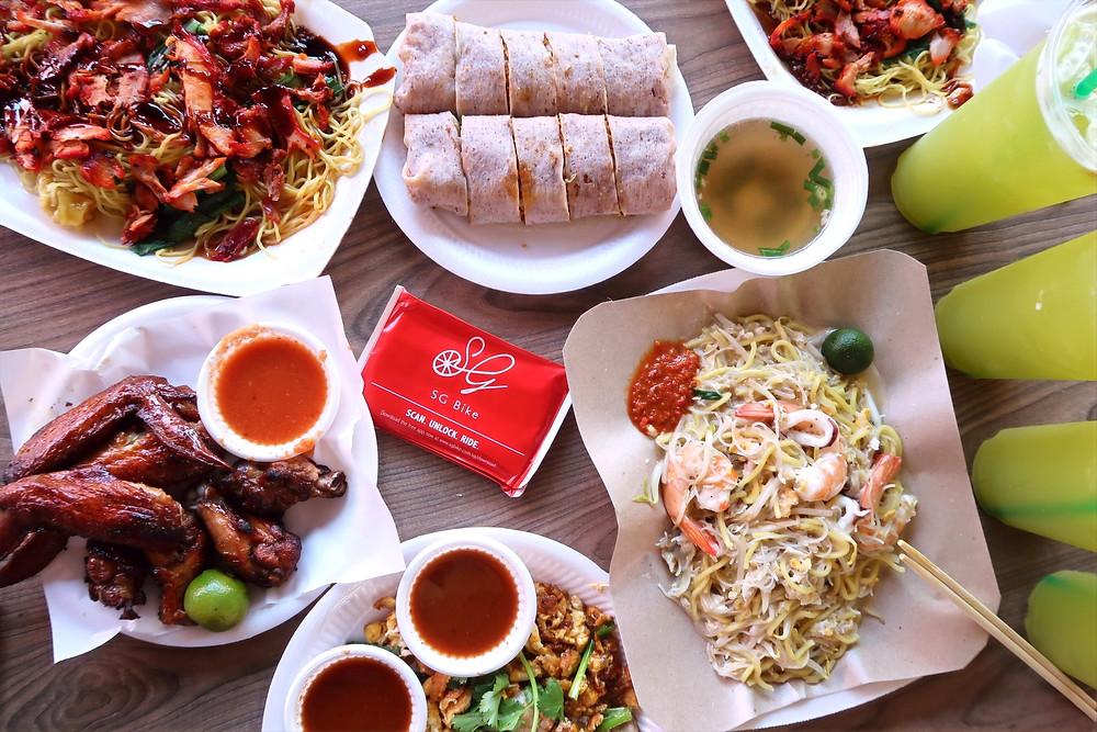 Flat lay of food from East Coast Lagoon Food Village