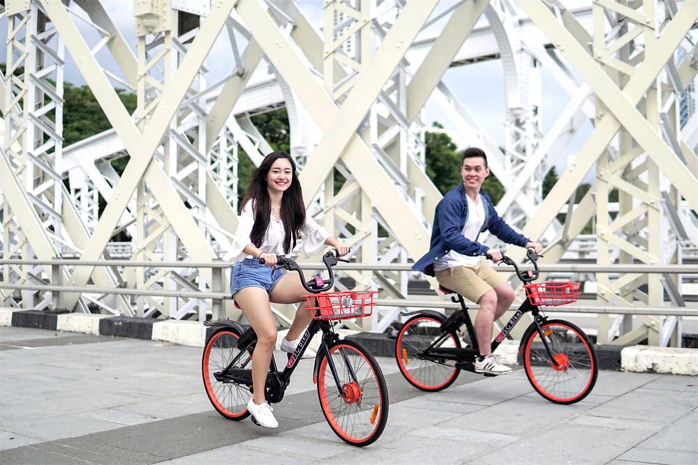 Riding SG Bike bicycles