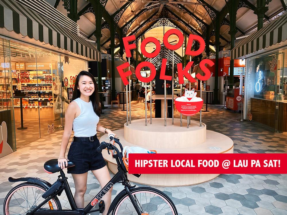 Bike at entrance of Food Folks, Lau Pa Sat