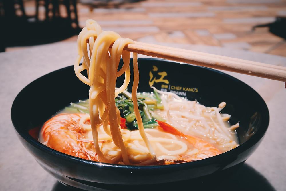 Bowl of prawn noodles