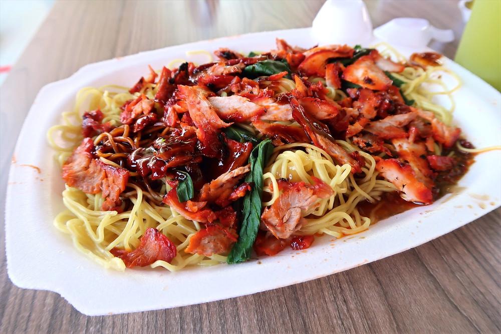 Plate of Hwa Kee BBQ pork noodles