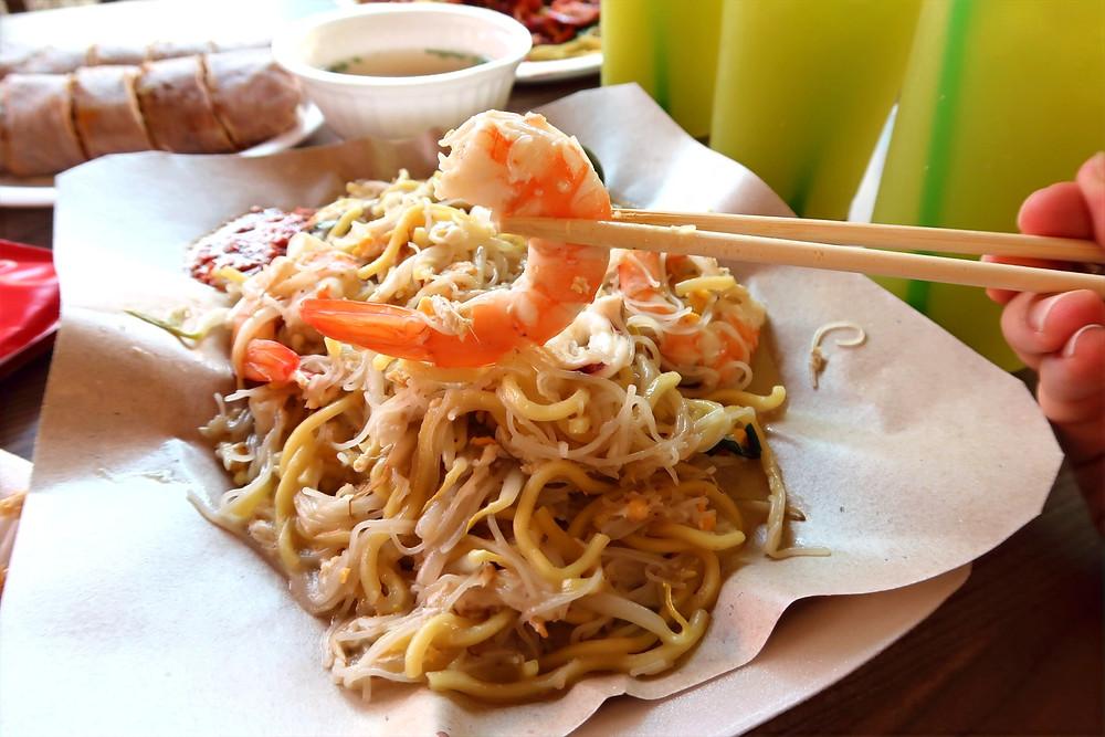 Plate of fried hokkien prawn noodles from Choon Hiang