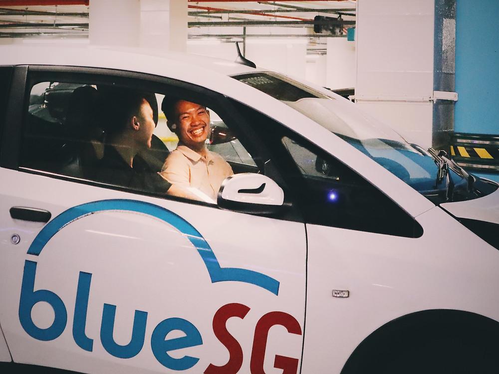 Friends in BlueSG car