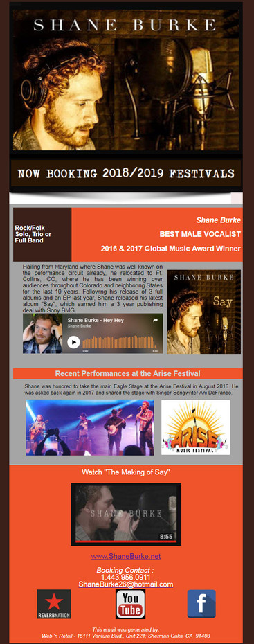 Shane Burke - Booking Festivals