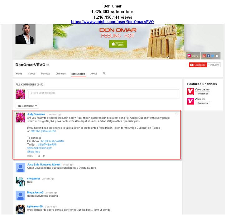 Don Omar YouTube Tastemaker Post