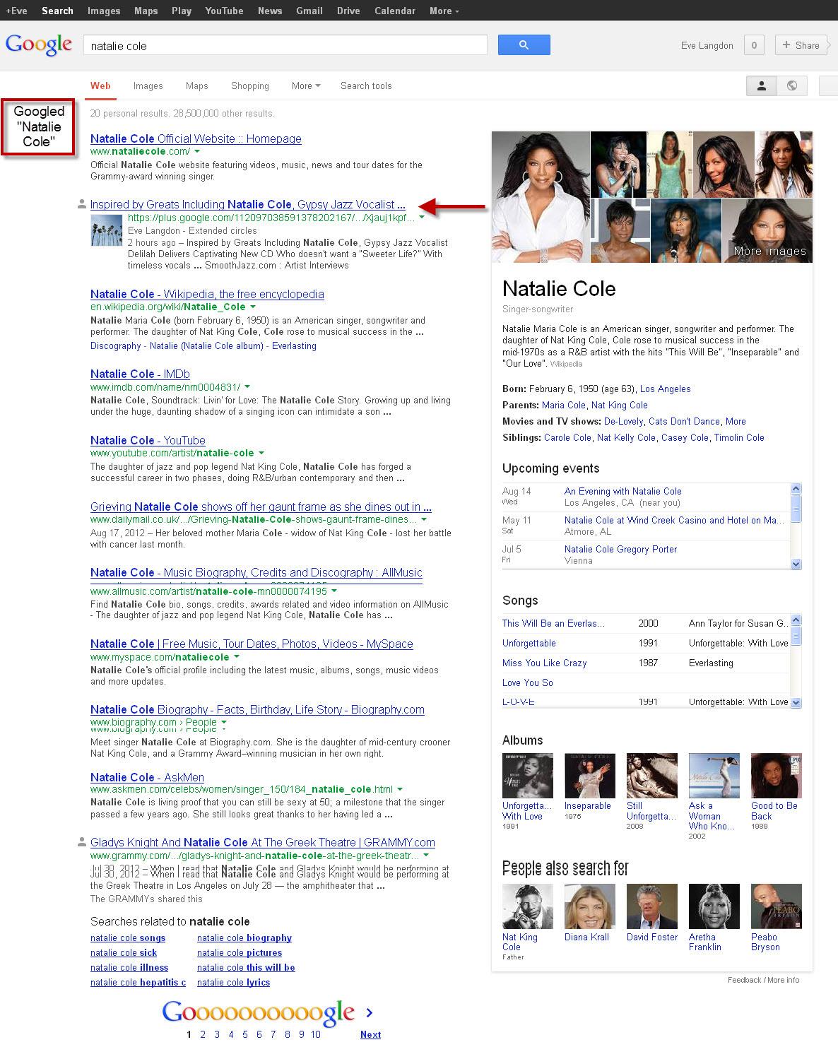 Natalie Cole PR #2 out of 28,776,000