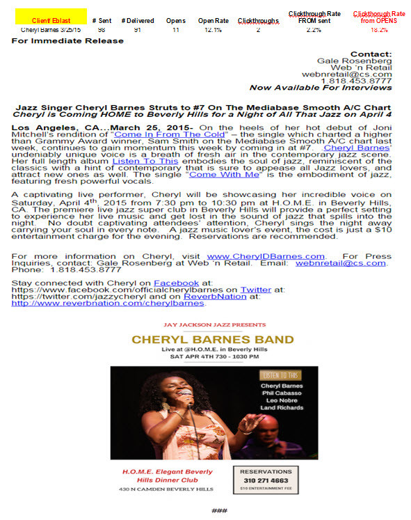 Cheryl Barnes-Tour Support-Beverly Hills, CA