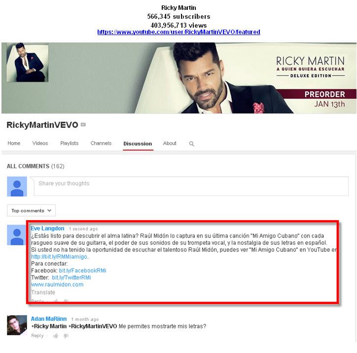 RickyMartin-YouTube Tastemaker Post