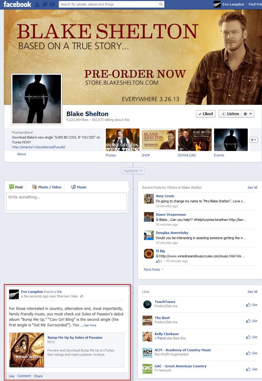 Tastemaker FB Post-Blake Shelton
