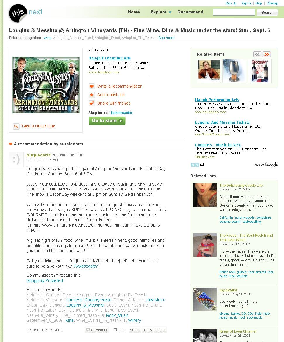 Event Posting on ThisNext.com