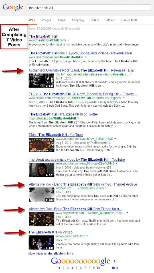 Video Blogging Results Example 1
