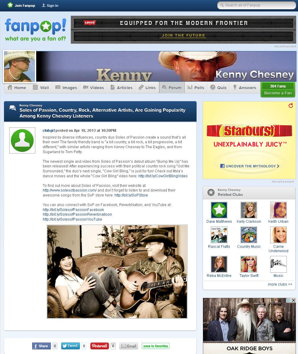 Blog Post on Fanpop/Kenny Chesney