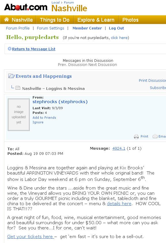 Blog post About.com Nashville forum