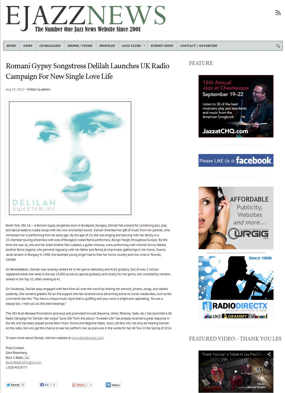 Delilah PR on EJazzNews