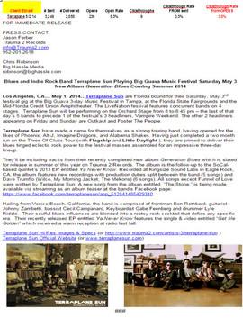 Terraplane Sun-National Press Release